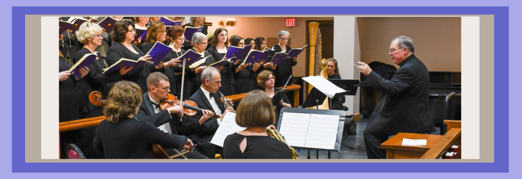 """Photo header of Artistic Director, Bob Webb leads the Chorale and orchestra in """"We Remember Them,""""  NVC Fall Concert of 2017."""