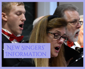 New Singers' Information block photo close-up of chorale singers.
