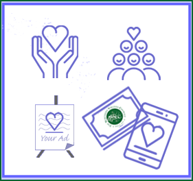 Partners in the Arts page graphic showing purple charitable giving icons, hands holding a heart; group of singers;  an advertising easel, ticket and iPhone.