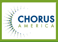 Chorus America logo with green and teal sunburst