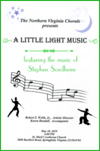 A Little Light Music Concert Cover featuring dancing Broadway men with hats, musical notes, and the music of Stephen Sondheim.