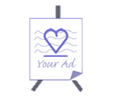 Advertisement easel icon with purple heart in the center