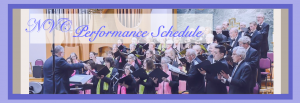 "The Northern Virginia Chorale Performance Schedule header showing chorale performing ""Joyful Spring Delights"""