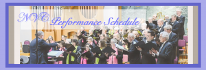 "The Northern Virginia Chorale Performance Schedule header showing the Chorale performing ""Joyful Spring Delights"" concert of May 2018."