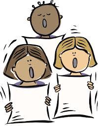 Cartoon illustration of three female choral singers