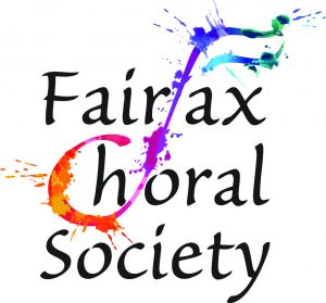 Fairfax Choral Society logo with multi-color paint-splash abstract single note