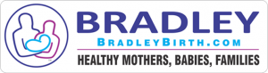 Bradleybirth.com logo with purple bold text and red, purple and turquoise illustration of parents with heart