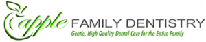 Apple Family Dentistry logo with small green apple and green and grey text on white background