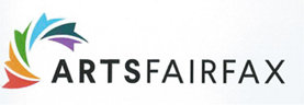 ARTSFAIRFAX logo with curved symbol made of flag-like sections in multi-prime colors