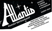 Atlantis Family Restaurant Business card in black and white