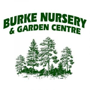 Burke Nursery & Garden Centre logo with dark green text and evergreen trees illustration in dark green
