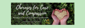 Choruses for Care and Compassion image showing hands holding seeds on dark green leaf background with Capital Food Bank logo