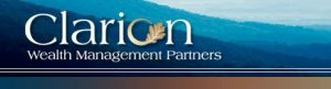 Clarion Wealth Management Partners logo with white text on blue mountain background with oak leaf in beige