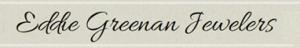 Eddie Greenan Jewelers script text logo in brown on beige background
