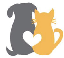 For Pets' Sake of Alexandria log with dog and cat with heart illustration in grey and orange