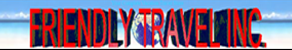 Friendly Travel, Inc. logo in red text on blue wave background