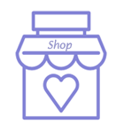 Purple store or shop front icon with heart