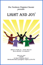 Light and Joy Concert Program Cover showing sun rays and singers with uplifted arms