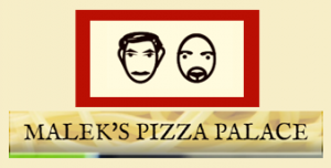 Malek's Pizza Palace logo with two owner face illustrations on cream with red background