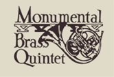 Monumental Brass Quintet logo with French horn illustration in brown text on beige background