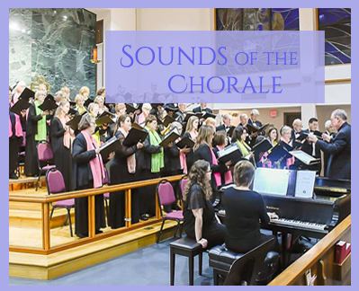Sounds of the Chorale block style photos showing a spring performance with pianists and the director.