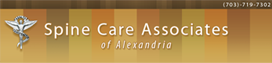 Spine Care Associates of Alexandria, Virginia logo with gold-brown-orange striped background