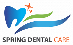 Spring Dental Care logo showing blue tooth with orange and green abstract stars and flowing lines