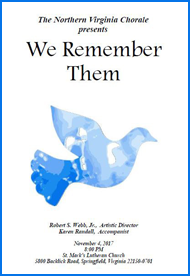 We Remember Them concert program cover with blue dove
