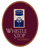 Whistle Stop Hobbies circular logo with toy soldier on dark maroon background