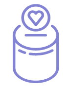 Round cash or coin box charity icon in purple