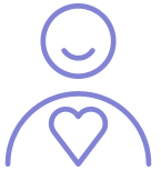 Round person figure icon with heart