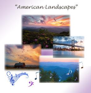 American Landscapes photo collage featuring images of the Blue Ridge Mountains with sunset and sunrise; an iconic barn with sunset and orange sky, and a New York City bridge