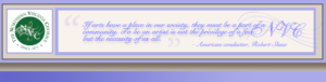 Horizontal full-width Northern Virginia Chorale green circle logo with wavy music bar and G clef and Robert Shaw arts quote. in purple script font on beige background with purple and brown borders.