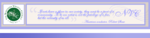 Horizontal full-width Northern Virginia Chorale green circle logo with wavy music bar and G clef and Robert Shaw arts quote. in purple script font and purple borders