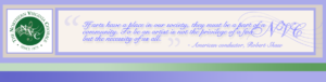 Image header with the Northern Virginia Chorale green circle logo with wavy music bar and G clef and Robert Shaw arts quote. in purple script font with purple and green borders.