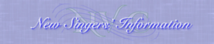 New Singers' Information purple header with NVC wavy music lines and initials in background