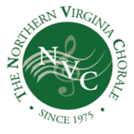 Northern Virginia Chorale logo with G clef on wavy music bar