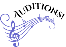 Graphic of wavy music bar with G Clef and Auditions curved title above.