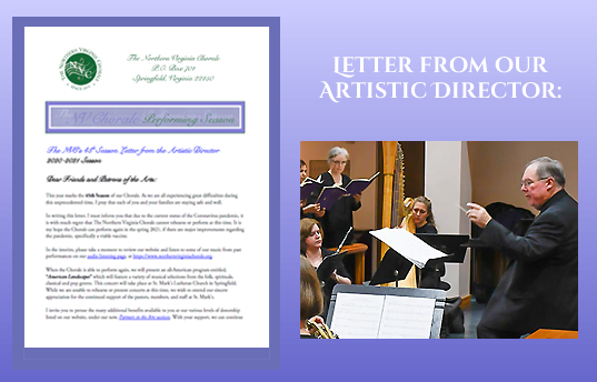 Image of the Letter from the Artistic Director on purple background next to photo of Director, Bob Webb conducting.