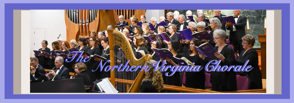 The Northern Virginia Chorale performing 'We Remember Them' in the fall of 2017 with a harpist as focal point in the photo.