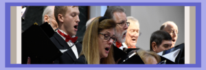 Close-up of male and female singers performing with the Northern Virginia Chorale