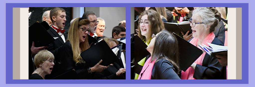 New Singers page header with split view showing images of Chorale singers performing in two different concerts.