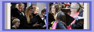 New Singers header with split view showing two images of Chorale singers performing in different concerts.