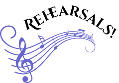 Graphic of wavy music bar with G Clef and Rehearsals curved title shown above.