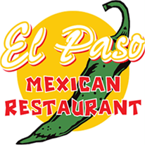El Paso Mexican Restaurant logo with large sun and green chili pepper and red and white lettering