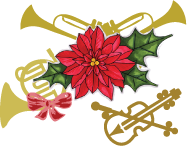 Gold musical instruments with holiday poinsettia - violin, French horn and trumpets