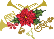 Holiday arrangement of French Horn, trumpet, violin, and other small musical instruments with poinsettia