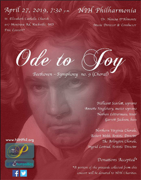 Beethoven 9th Symphony concert program cover featuring image of Beethoven on burgundy background