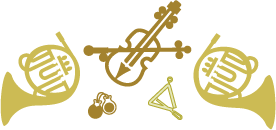 Mixed instruments: French horns, violin, triangle and other in gold.
