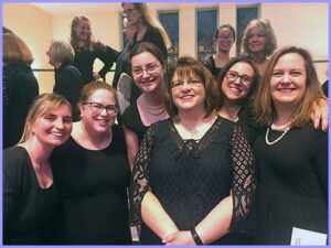 "Group picture of NVC female singers who performed in the Beethoven's ""Ode to Joy."""